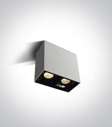 Faretto LED Quadrato a soffitto Doppio - 2x7W - Bianco Caldo 3000K