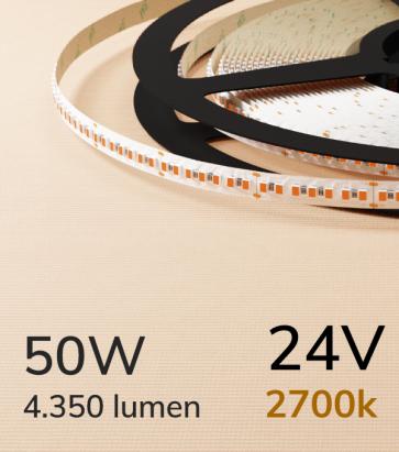 "Striscia LED 2216 ""PRO"" - 24V - 5 Metri - 50W - SMD2216 280 LED/m - Luce CALDA - 2700K"