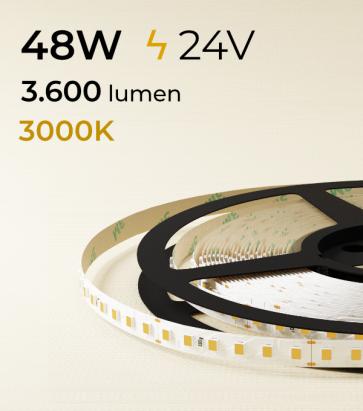 """Striscia LED 2835 """"ECO"""" - 24V - 5 Metri - 48W - SMD2835 120 LED/m - Bianco CALDO - 3000K"""