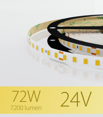 """Striscia LED 2835 """"ECO"""" - 24V - 5 Metri - 72W -  120 LED/m SMD2835 - Bianco CALDO 3000K"""