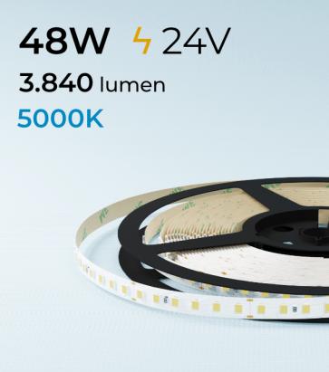 "Striscia LED 2835 ""ECO"" - 24V - 5 Metri - 48W - SMD2835 120 LED/m - Bianco FREDDO - 5000K"