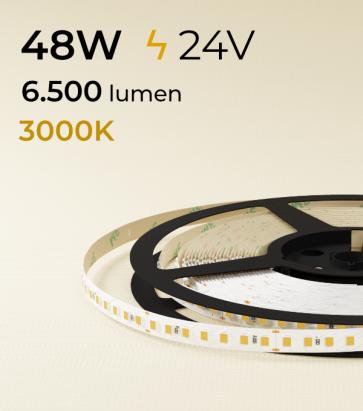 """Striscia LED 2835 """"ECO"""" - 24V - 5 Metri - 48W - SMD2835 140 LED/m - Bianco CALDO - 3000K"""