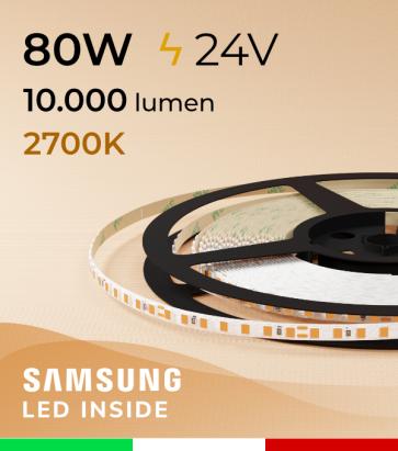 "Striscia LED 2835 ""THIN"" - 5mm x 5 Metri - 80W - 140 LED/m SMD2835 Samsung - CRI90 - 2700K Luce Calda"