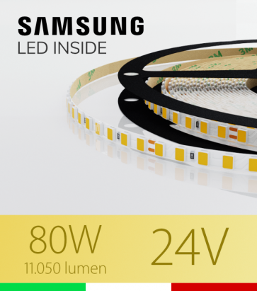 "Striscia LED 2835 ""THIN"" - 5mm x 5 Metri - 80W - 140 LED/m SMD2835 Samsung - CRI90 - BIANCO Caldo 3000K"