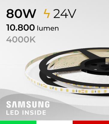 "Striscia LED 2835 ""THIN"" - 5mm x 5 Metri - 80W - 140 LED/m SMD2835 Samsung - CRI90 - BIANCO Naturale 4000K"