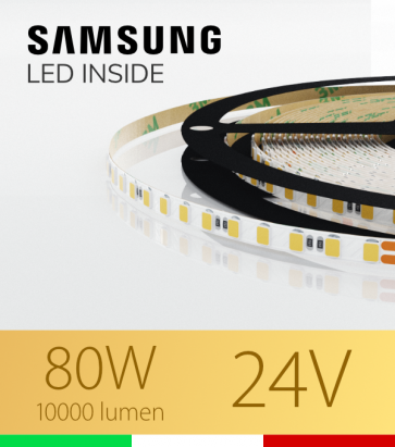 "Striscia LED 2835 ""THIN"" - 5mm x 5 Metri - 80W - 140 LED/m SMD2835 Samsung - CRI90 - 2700K Luce Calda"