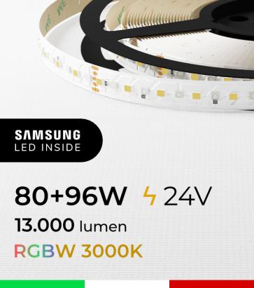 """Striscia LED RGBW  """"DYNAMIC RGBW"""" - 5 Metri - 176W - 140 LED/m - SMD3535 Broadcom e SMD2835 Samsung CRI90 - RGB + Bianco Caldo 3000K"""