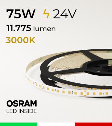 "Striscia LED 2835 ""PRO"" - 24V - 5 Metri - 75W - SMD2835 Osram - 144 LED/m - Bianco CALDO - 3000K"