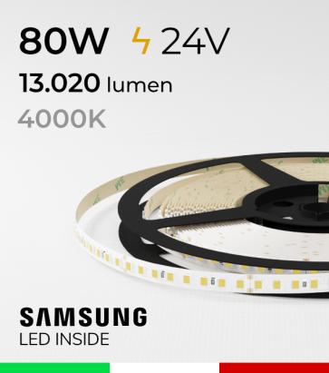 "Striscia LED 2835  ""LEVANTE"" - 5 Metri - 80W -  144 LED/m SMD2835 Samsung - CRI90 - 4000K BIANCO NATURALE"