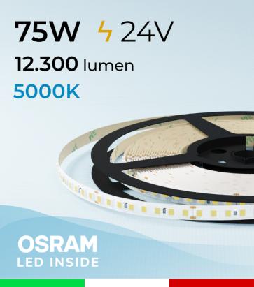 """Striscia LED 2835 """"PRO"""" - 24V - 5 Metri - 75W - SMD2835 Osram - 144 LED/m - Bianco FREDDO - 5000K"""