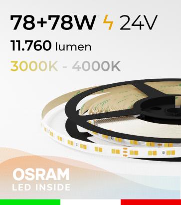 Striscia LED PRO Bianco Dinamico - 15,6W/m+15,6Wm - 160LED/m SMD2835 Osram - da 3000K a 4000K