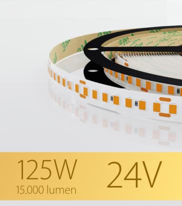 "Striscia LED 2835 ""PRO"" - 24V - 5 Metri - 125W - SMD2835 168 LED/m - Luce CALDA - 2700K"