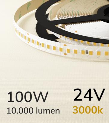 """Striscia LED 2835 """"ECO"""" - 24V - 5 Metri - 100W - SMD2835 168 LED/m - Bianco CALDO - 3000K"""