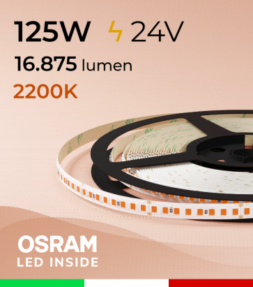 "Striscia LED 2835 ""PRO"" - 24V - 5 Metri - 125W - SMD2835 Osram - 176 LED/m - Luce AMBRA - 2200K"