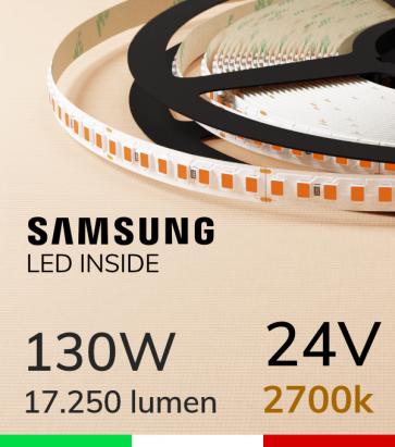 "Striscia LED ""AZIMUT"" - 5 Metri - 130W - SMD2835 SAMSUNG - 176 LED/m  - CRI90 - Luce CALDA 2700K"