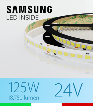"Striscia LED ""AZIMUT"" - 5 Metri - 125W - SMD2835 SAMSUNG - 176 LED/m - CRI90 - Bianco FREDDO 5000K"