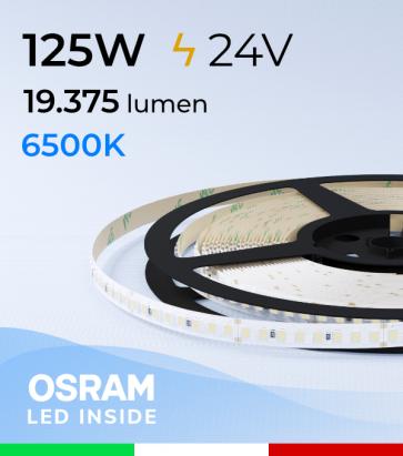 """Striscia LED 2835 """"PRO"""" - 24V - 5 Metri - 125W - SMD2835 Osram - 176 LED/m - Bianco GHIACCIO - 6500K"""