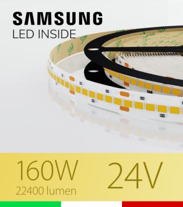 "Striscia LED 2835 ""HORIZON"" - 5 Metri - 160W -  210 LED/m SMD2835 SAMSUNG - CRI90 - Bianco CALDO 3000K"