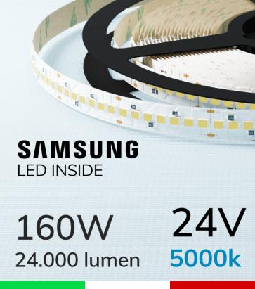 "Striscia LED 2835 ""HORIZON"" - 5 Metri - 160W -  210 LED/m SMD2835 Samsung - CRI90 - Bianco FREDDO 5000K"