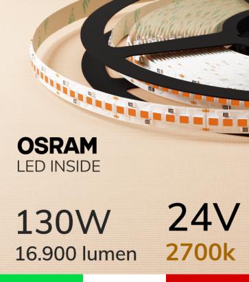 """Striscia LED """"PRO"""" Osram - 5 Metri - 130W -  210 LED/m SMD2835 - Luce CALDA 2700K"""
