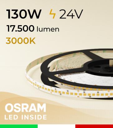 "Striscia LED ""PRO"" Osram - 5 Metri - 130W -  210 LED/m SMD2835 - Bianco CALDO 3000K"
