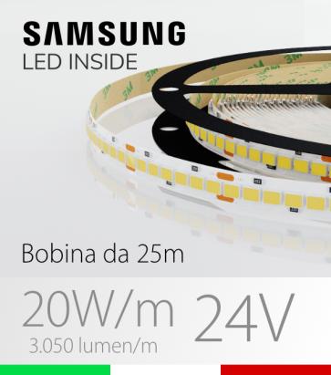 """Striscia LED 2835 """"HORIZON 20"""" - 25 Metri - 20W/m -  210 LED/m SMD2835 SAMSUNG - CRI90 - Temperatura di Colore Selezionabile"""