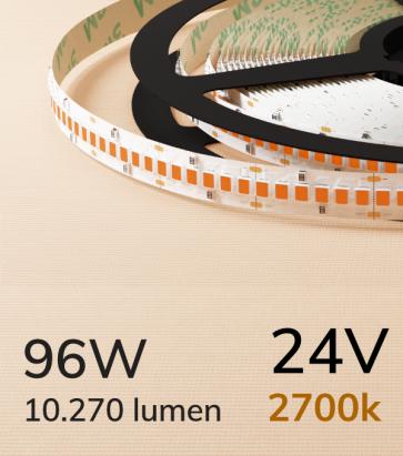 "Striscia LED 2835 ""ECO"" - 24V - 5 Metri - 96W - SMD2835 240LED/m - Luce CALDA - 2700K"