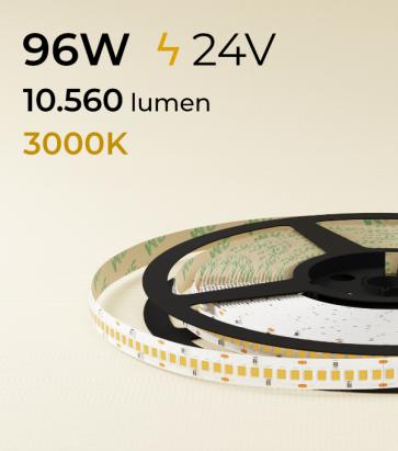 """Striscia LED 2835 """"ECO"""" - 24V - 5 Metri - 96W - SMD2835 240LED/m - Bianco CALDO - 3000K"""