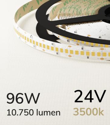 """Striscia LED 2835 """"ECO"""" - 24V - 5 Metri - 96W - SMD2835 240LED/m - Bianco CALDO - 3500K"""