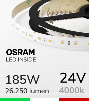 "Striscia LED 3030  ""ELITE"" - 5 Metri - 185W -  80 LED/m SMD3030 Osram - Bianco NATURALE 4000K"