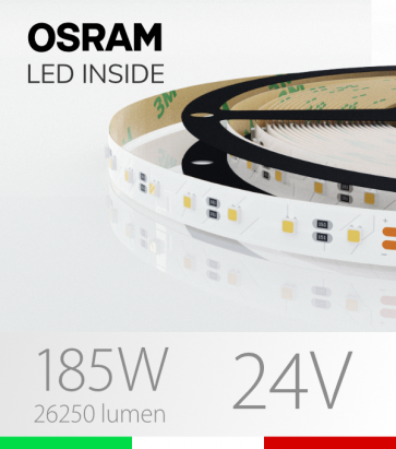 "Striscia LED 3030  ""ELITE"" - 5 Metri - 185W -  80 LED/m SMD3030 Osram - Bianco NATURALE 4000K"