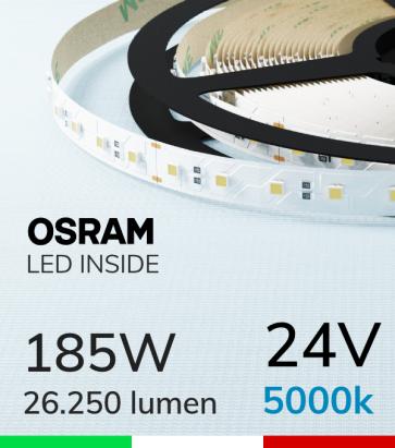 "Striscia LED 3030  ""ELITE"" - 5 Metri - 185W -  80 LED/m SMD3030 Osram - Bianco FREDDO 5000K"