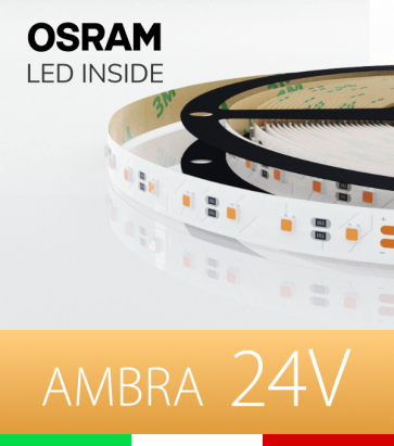 "Striscia LED 3030  ""COLOR"" - 1 Metro - 40W/m -  80 LED/m SMD3030 Osram - AMBRA"
