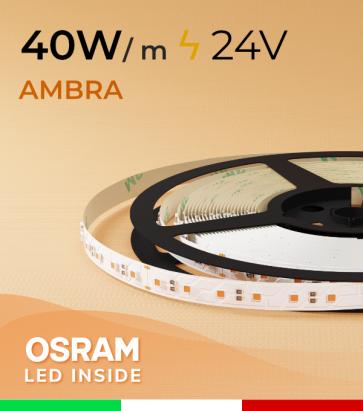 "Striscia LED 3030  ""COLOR"" - 1 Metro - 40W/m -  80 LED/m SMD3030 Osram - AMBRA"