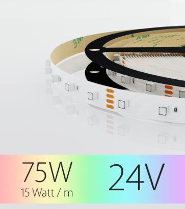 "Striscia LED RGB ""DYNAMIC RGB"" - 5 Metri - 75W - 60 LED/m SMD3535 Epistar - per Cornici Eleni"