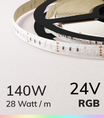 """Striscia LED RGB """"DYNAMIC RGB"""" - 5 Metri - 140W - 168 LED/m SMD3838"""