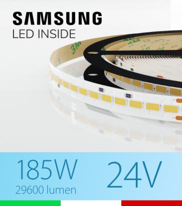 "Striscia LED 5630  ""H-POWER"" - 5 Metri - 185W -  140 LED/m SMD5630 Samsung - Bianco FREDDO 5000K"