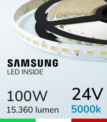 "Striscia LED ""ZENITH"" - 5 Metri - 100W -  98 LED/m SMD5630 SAMSUNG - CRI90 - Bianco FREDDO 5000K"