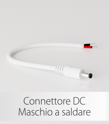 Connettore Strisce LED DC maschio a saldare - Bianco
