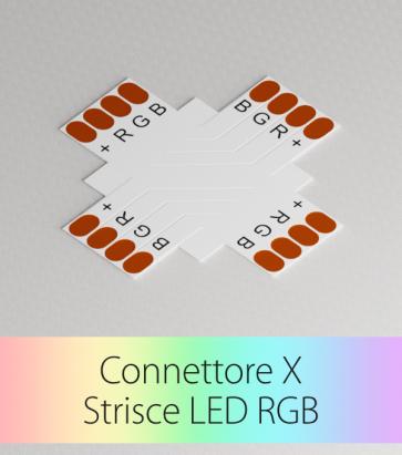 Connettore a X Strisce LED RGB con Clip in plastica