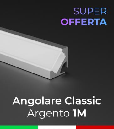 SUPER OFFERTA Profilo Angolare 45° Classic in Alluminio da 1 Metro Copertura Opale o Trasparente