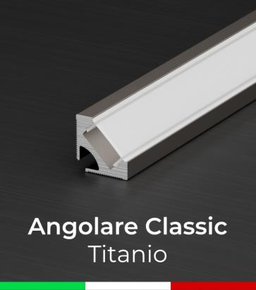 Profilo Angolare in Alluminio 45° Design Classic per Strisce LED - Ossidato TITANIO