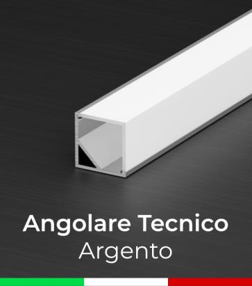 Profilo in alluminio angolare 45° Design Tecnico per Strisce LED - Anodizzato ARGENTO