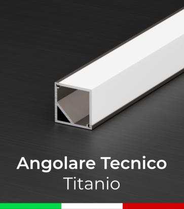 Profilo in alluminio angolare 45° Design Tecnico per Strisce LED - Ossidato TITANIO