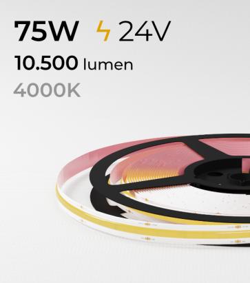 "Striscia LED COB ""Linea Continua"" - 24V - 5 Metri - 75W - 528 LED/m - Bianco NATURALE - 4000K"