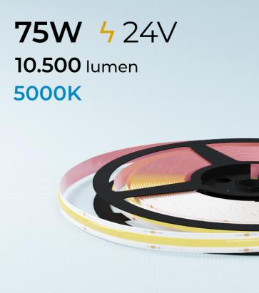 "Striscia LED COB ""Linea Continua"" - 24V - 5 Metri - 75W - 528 LED/m - Bianco FREDDO - 5000K"