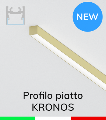 """Profilo in Alluminio Piatto """"Kronos"""" per Strisce LED - Oro Satinato"""
