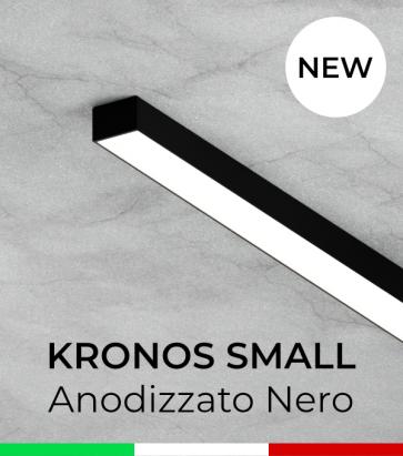 """Profilo in Alluminio """"Kronos Small"""" per Strisce LED - Anodizzato Nero"""