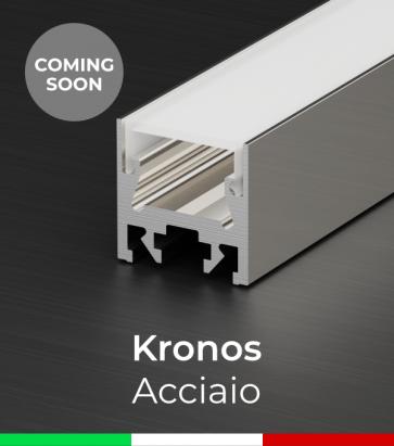 """Profilo in Alluminio Piatto """"Kronos"""" per Strisce LED - Acciaio Lucido"""
