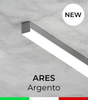 """Profilo Piatto in Alluminio """"Ares"""" per Strisce LED - Anodizzato Argento"""